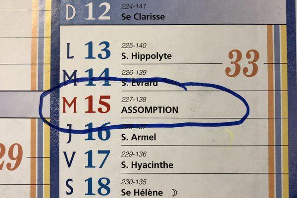 Bank holiday alert : Assumption, August 15th